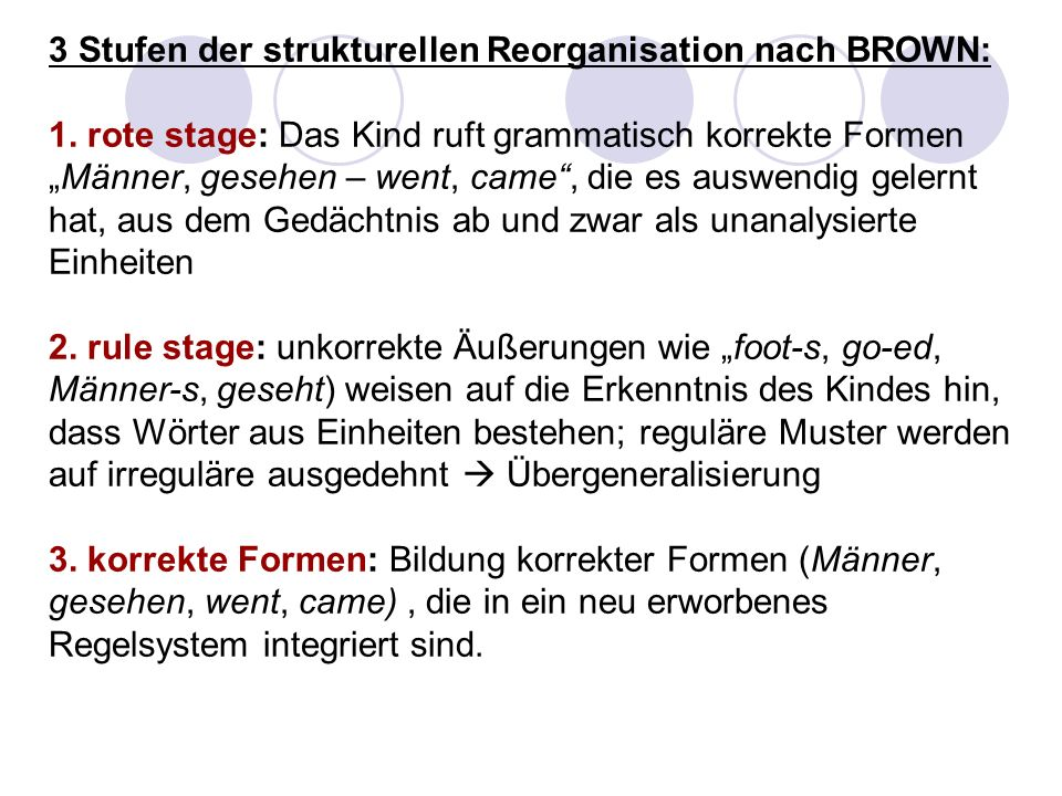 3 Stufen der strukturellen Reorganisation nach BROWN: