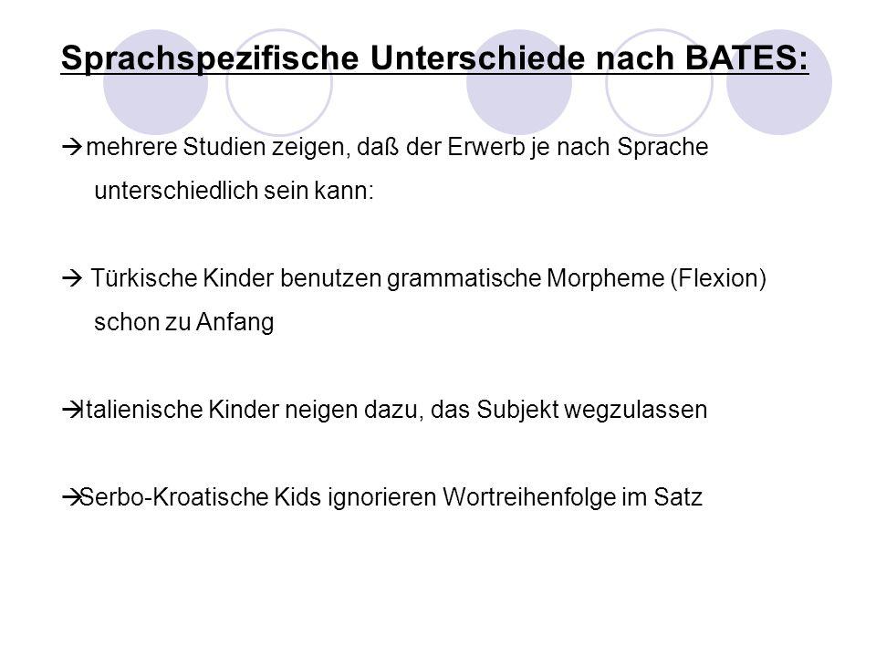 Sprachspezifische Unterschiede nach BATES: