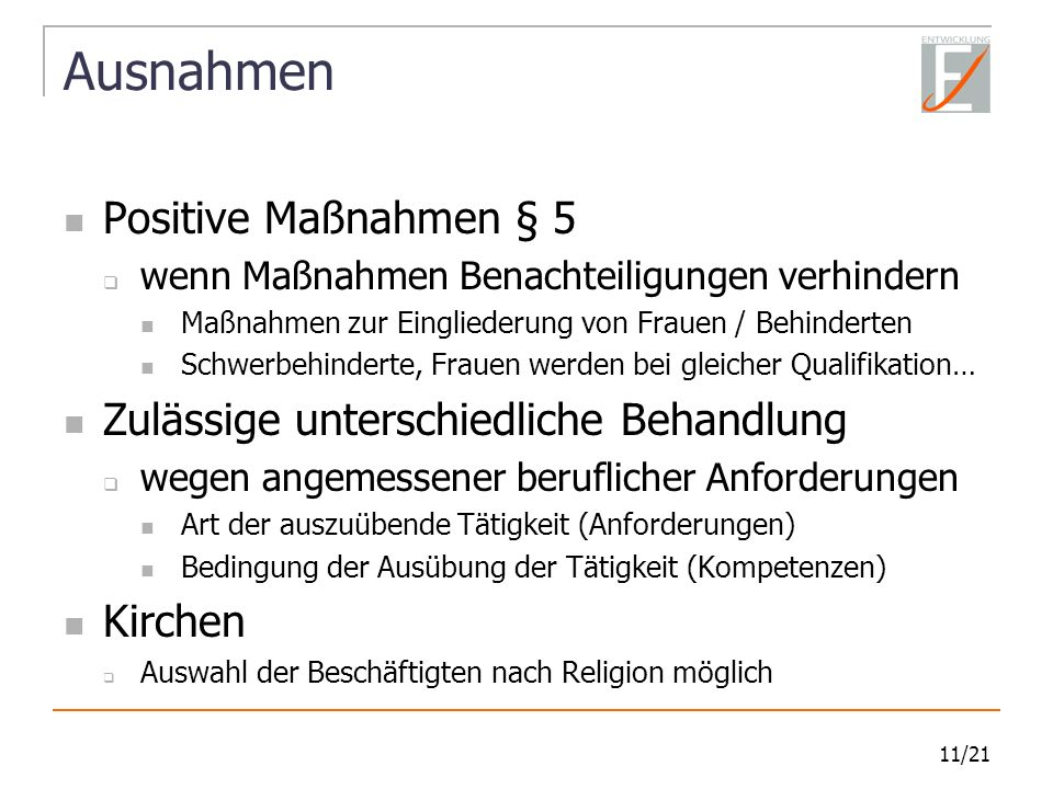 Ausnahmen Positive Maßnahmen § 5 Zulässige unterschiedliche Behandlung