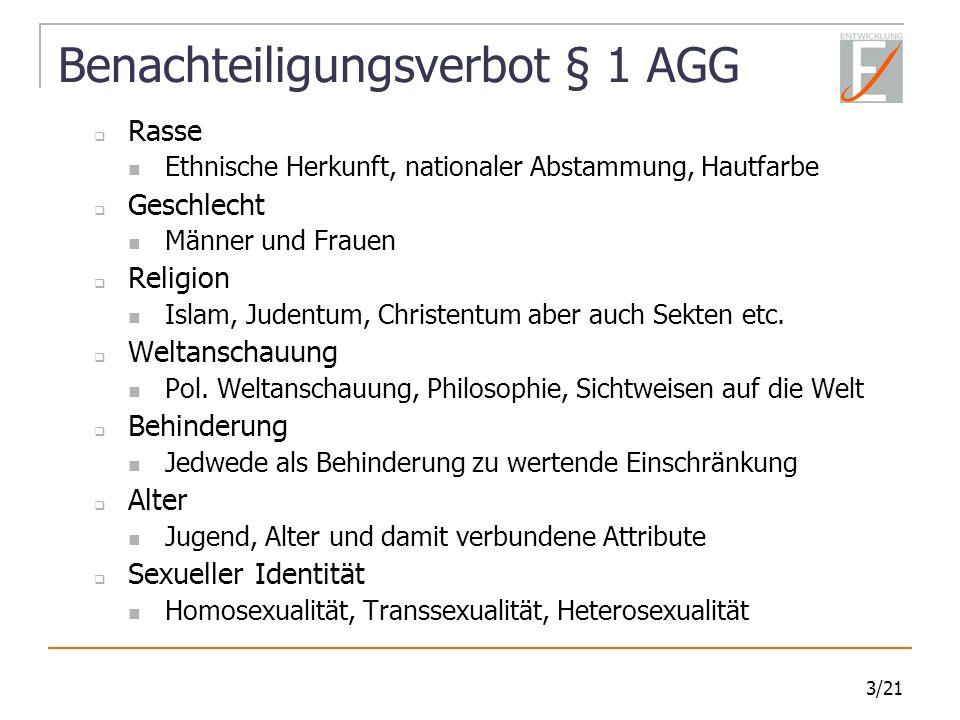 Benachteiligungsverbot § 1 AGG