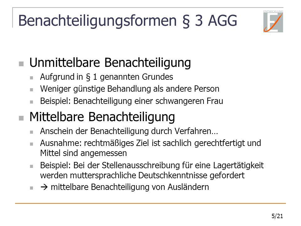 Benachteiligungsformen § 3 AGG
