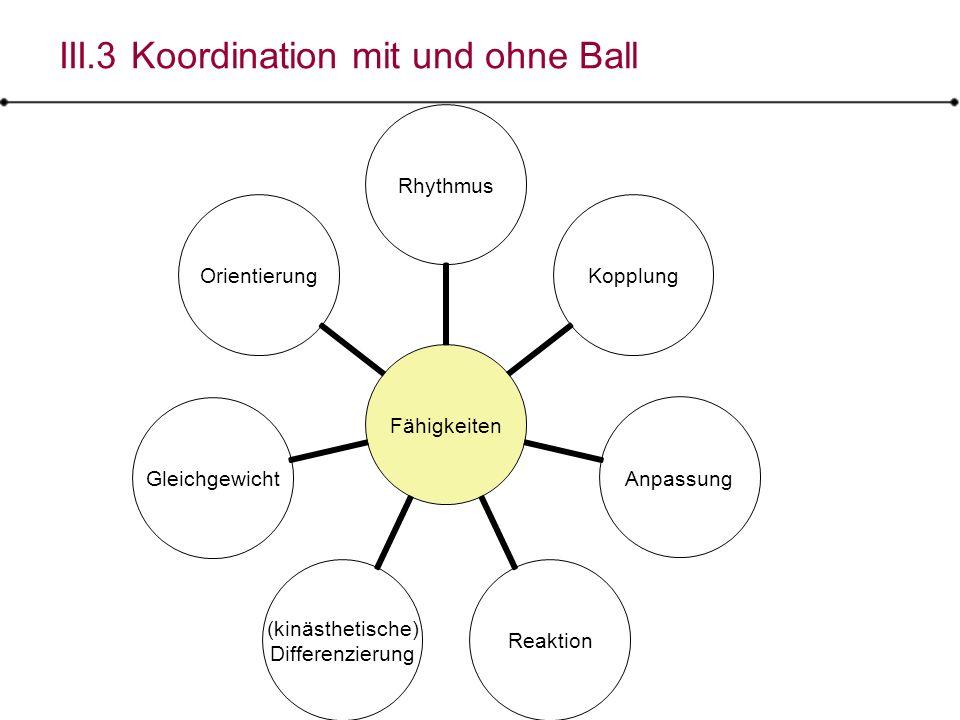 III.3 Koordination mit und ohne Ball