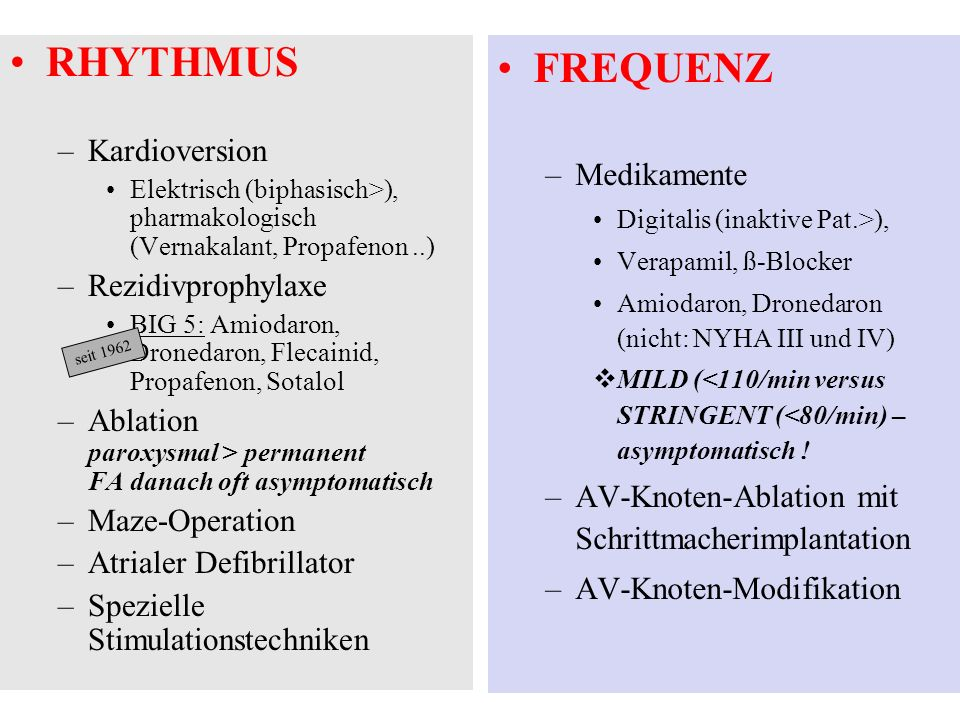 RHYTHMUS FREQUENZ Kardioversion Medikamente Rezidivprophylaxe
