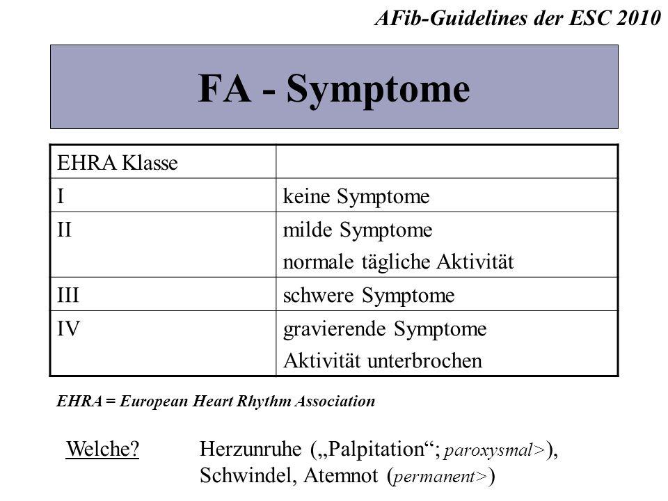 FA - Symptome AFib-Guidelines der ESC 2010 EHRA Klasse I
