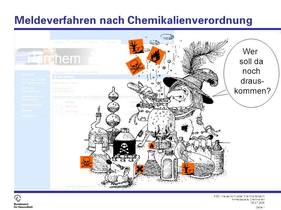 Meldeverfahren nach Chemikalienverordnung