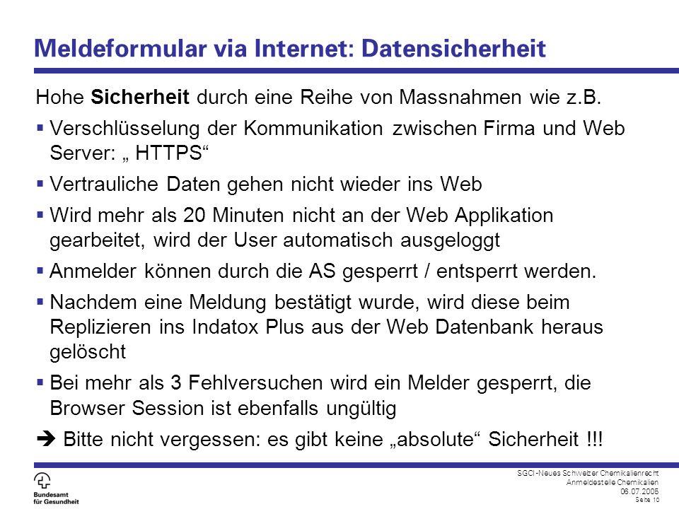 Meldeformular via Internet: Datensicherheit