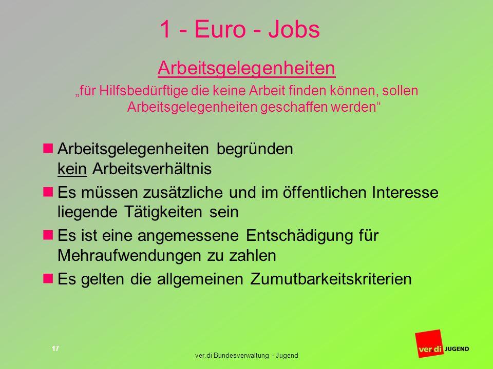 1 - Euro - Jobs Arbeitsgelegenheiten