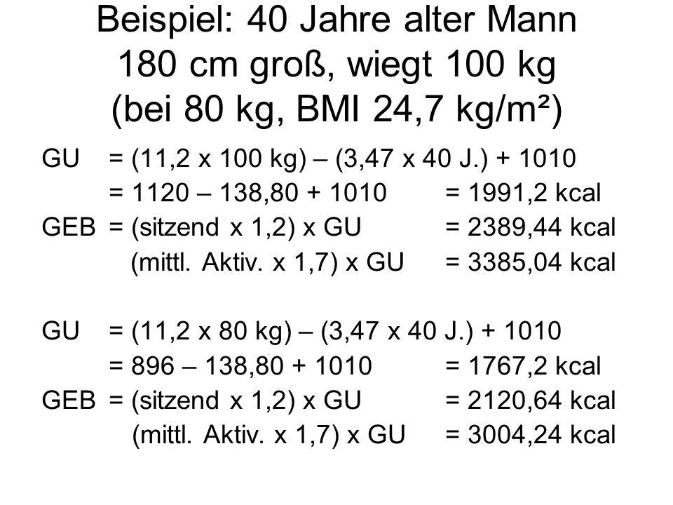 Beispiel: 40 Jahre alter Mann 180 cm groß, wiegt 100 kg (bei 80 kg, BMI 24,7 kg/m²)