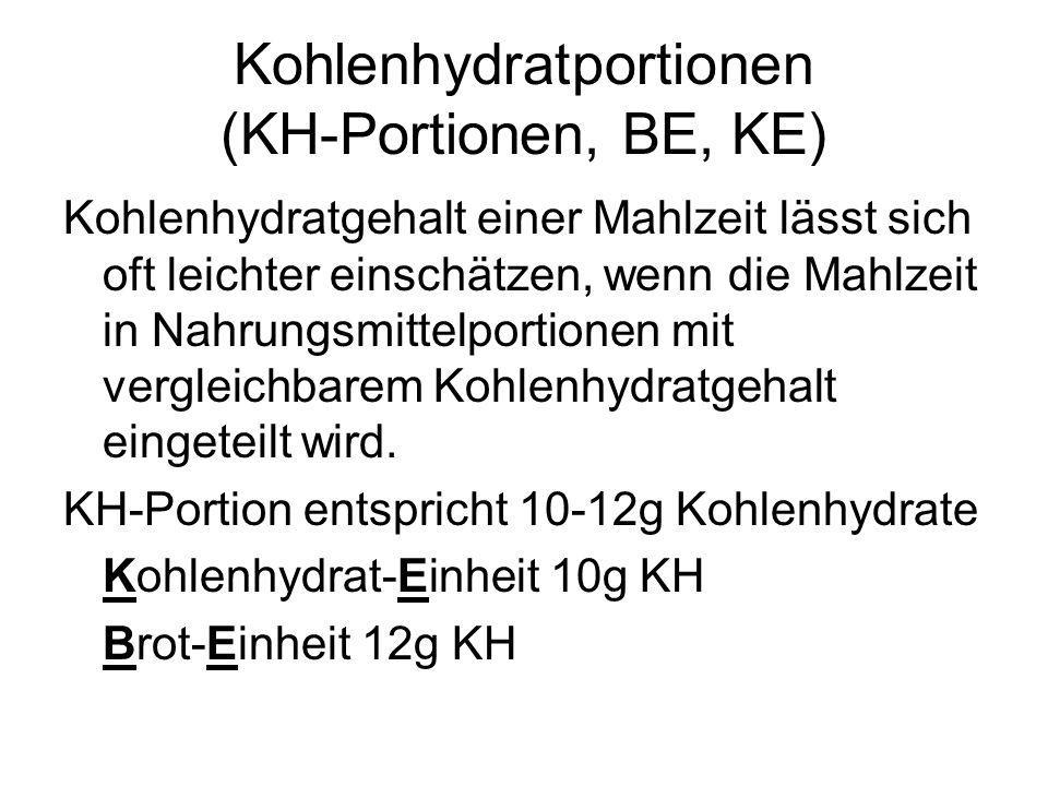 Kohlenhydratportionen (KH-Portionen, BE, KE)