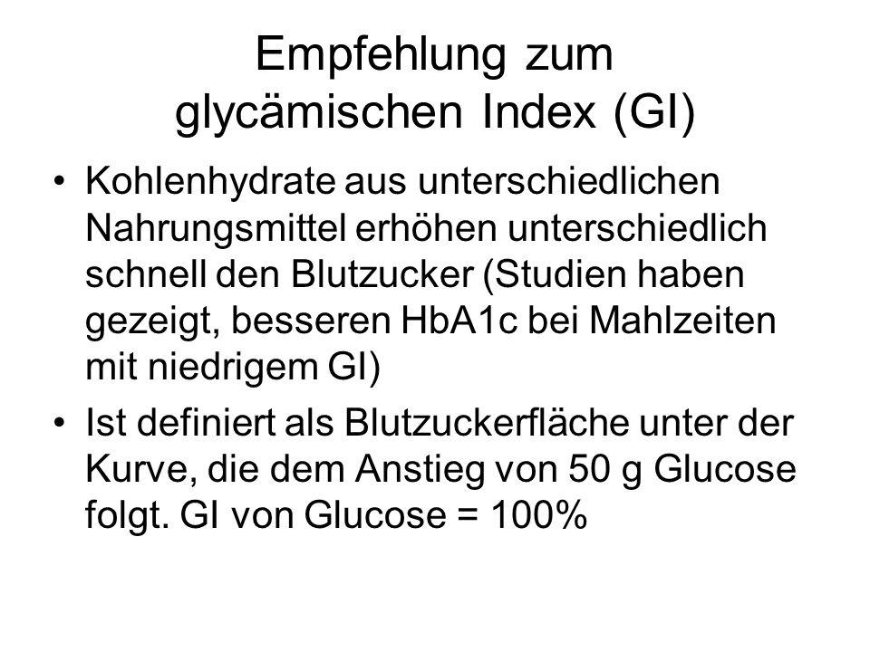 Empfehlung zum glycämischen Index (GI)