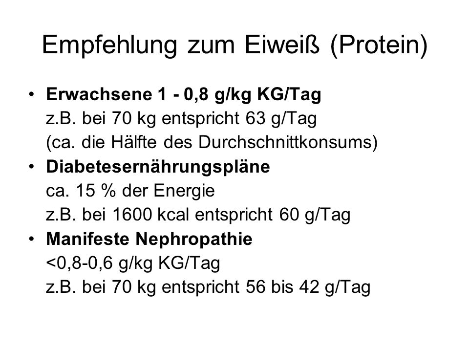 Empfehlung zum Eiweiß (Protein)