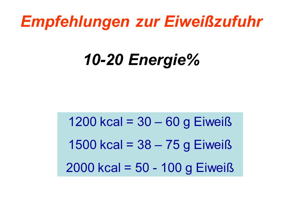 Empfehlungen zur Eiweißzufuhr 10-20 Energie%