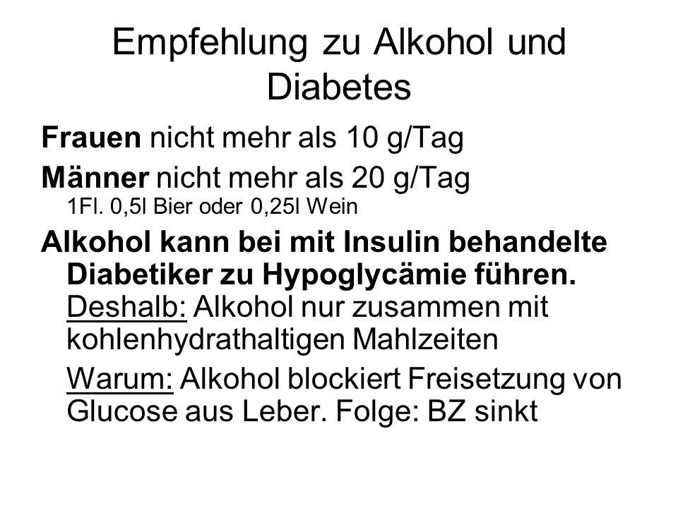 Empfehlung zu Alkohol und Diabetes