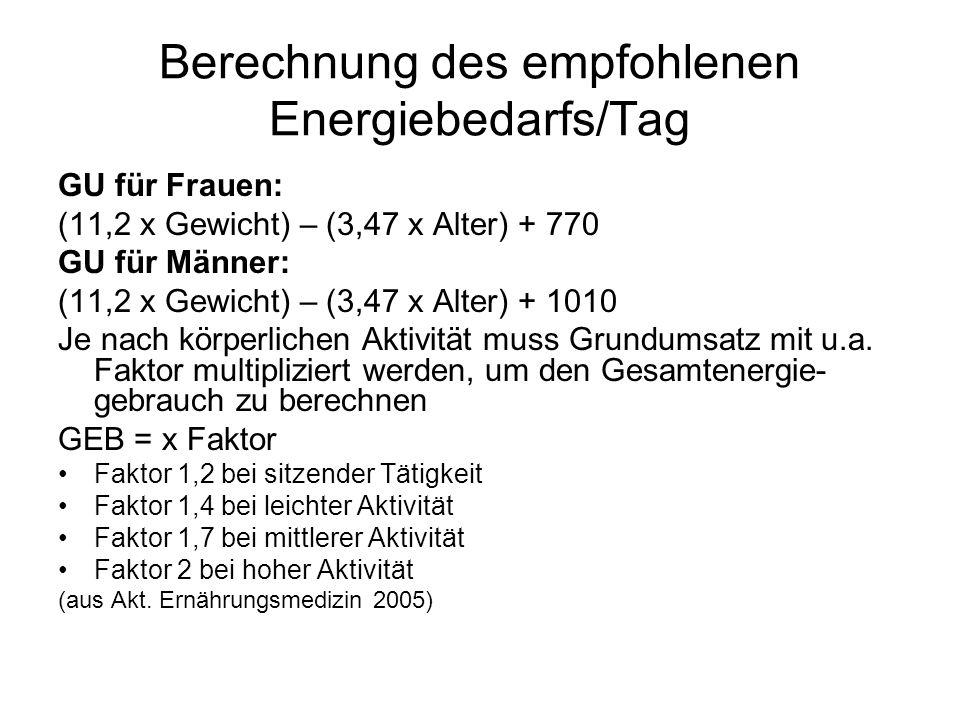 Berechnung des empfohlenen Energiebedarfs/Tag