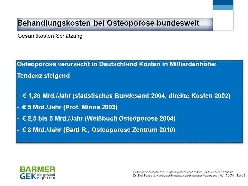 Detailkosten der Osteoporosebehandlung