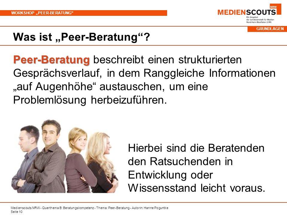 """Was ist """"Peer-Beratung"""