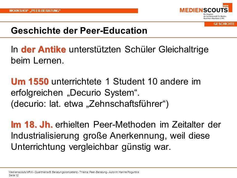Geschichte der Peer-Education