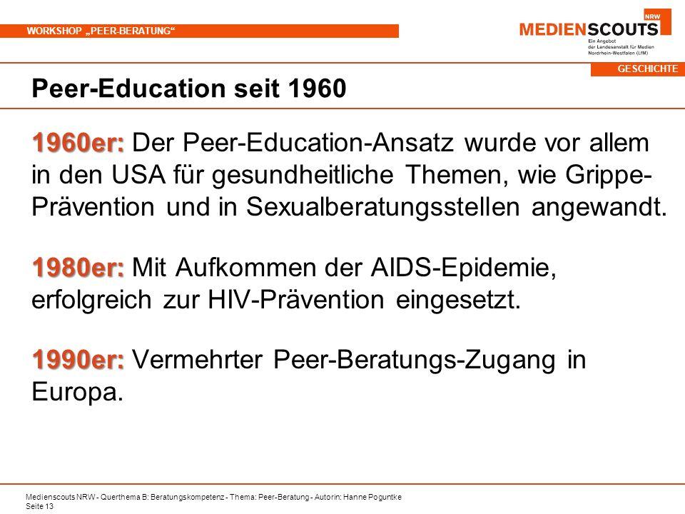 1990er: Vermehrter Peer-Beratungs-Zugang in Europa.