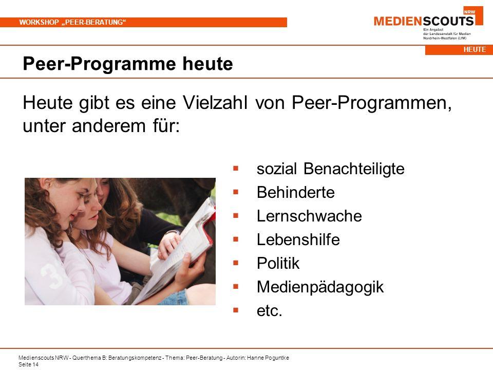 Heute gibt es eine Vielzahl von Peer-Programmen, unter anderem für: