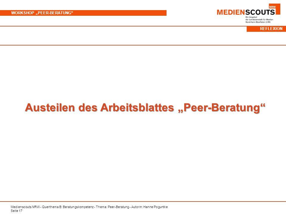 "Austeilen des Arbeitsblattes ""Peer-Beratung"