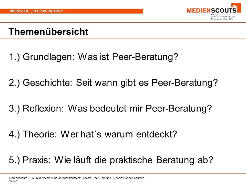 Themenübersicht 1.) Grundlagen: Was ist Peer-Beratung 2.) Geschichte: Seit wann gibt es Peer-Beratung