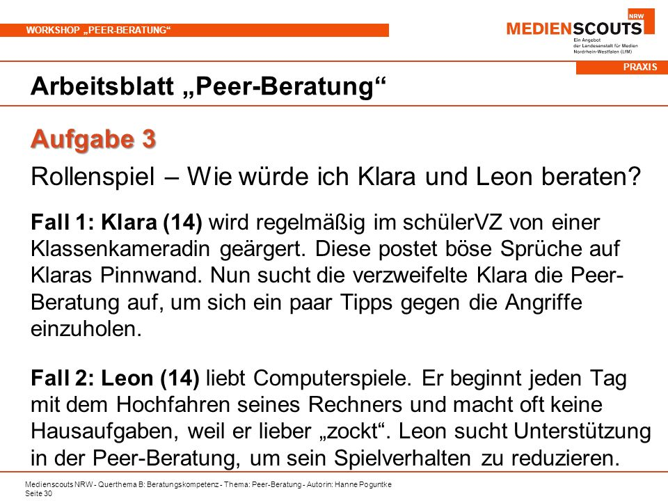 """Arbeitsblatt """"Peer-Beratung"""