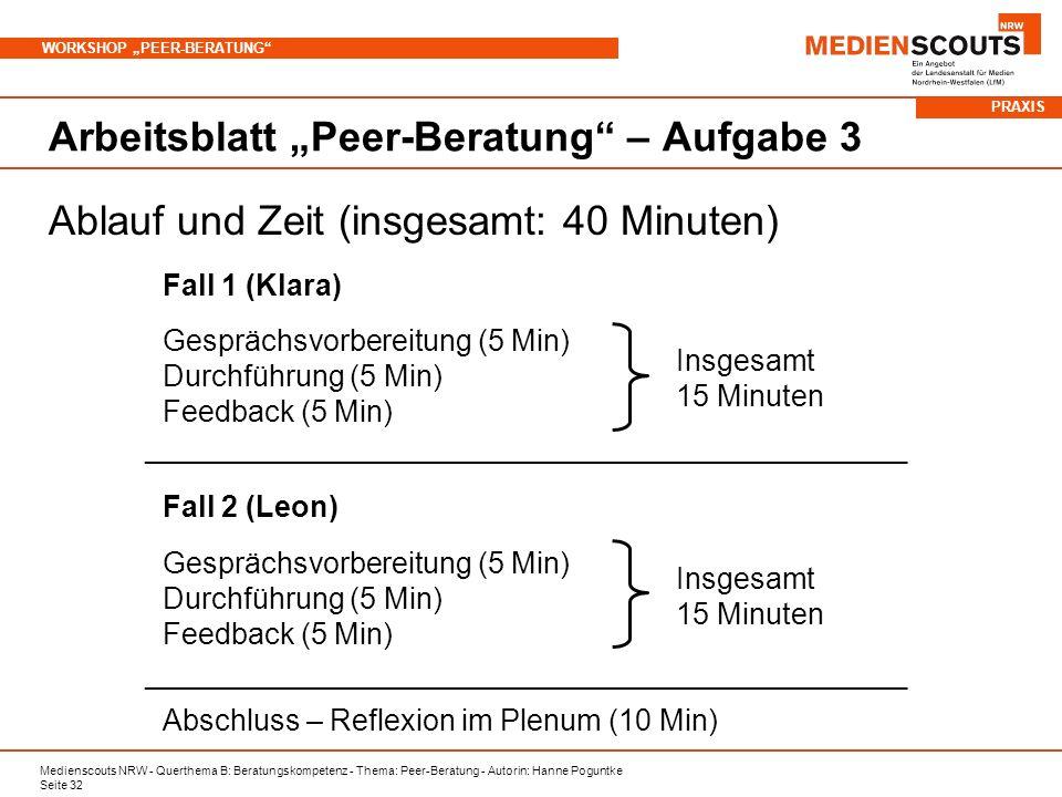 "Arbeitsblatt ""Peer-Beratung – Aufgabe 3"