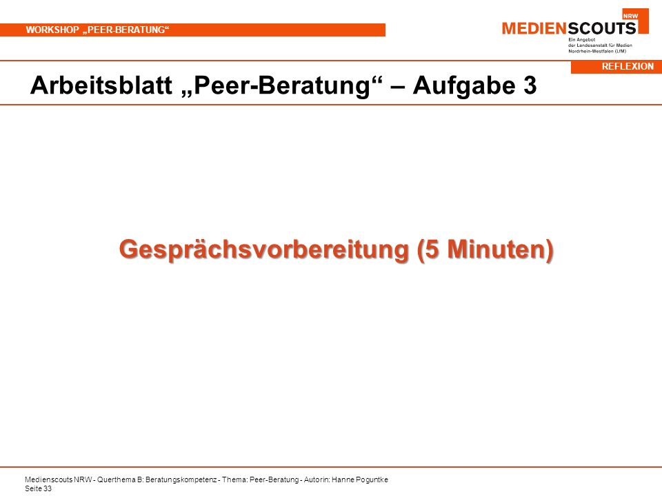Gesprächsvorbereitung (5 Minuten)