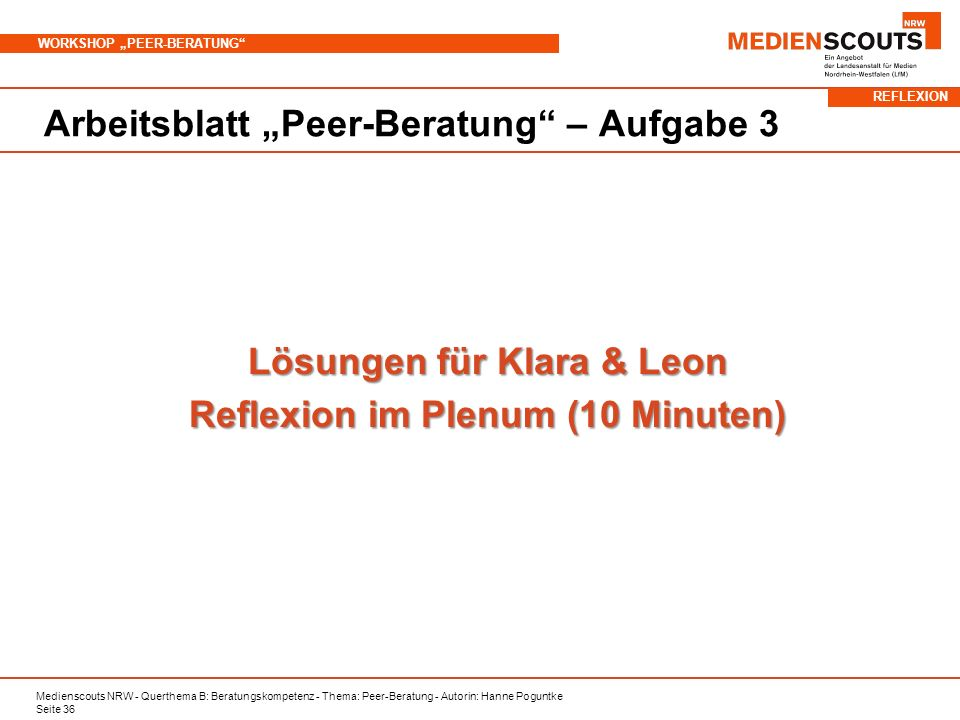 Lösungen für Klara & Leon Reflexion im Plenum (10 Minuten)