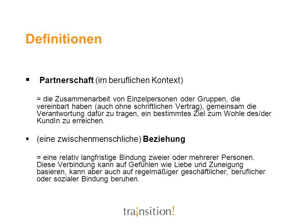 Definitionen Partnerschaft (im beruflichen Kontext)