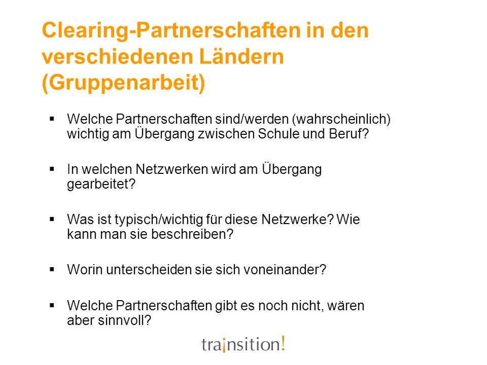 Clearing-Partnerschaften in den verschiedenen Ländern (Gruppenarbeit)