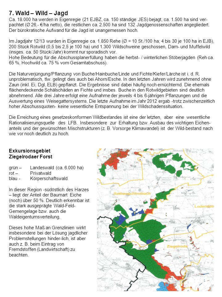 7. Wald – Wild – Jagd Ca. 18. 000 ha werden in Eigenregie (21 EJBZ, ca