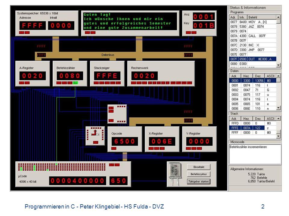 Programmieren in C - Peter Klingebiel - HS Fulda - DVZ