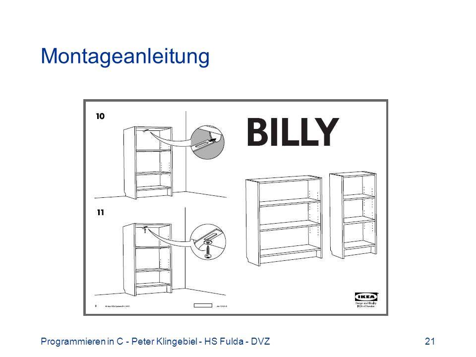 Montageanleitung Programmieren in C - Peter Klingebiel - HS Fulda - DVZ