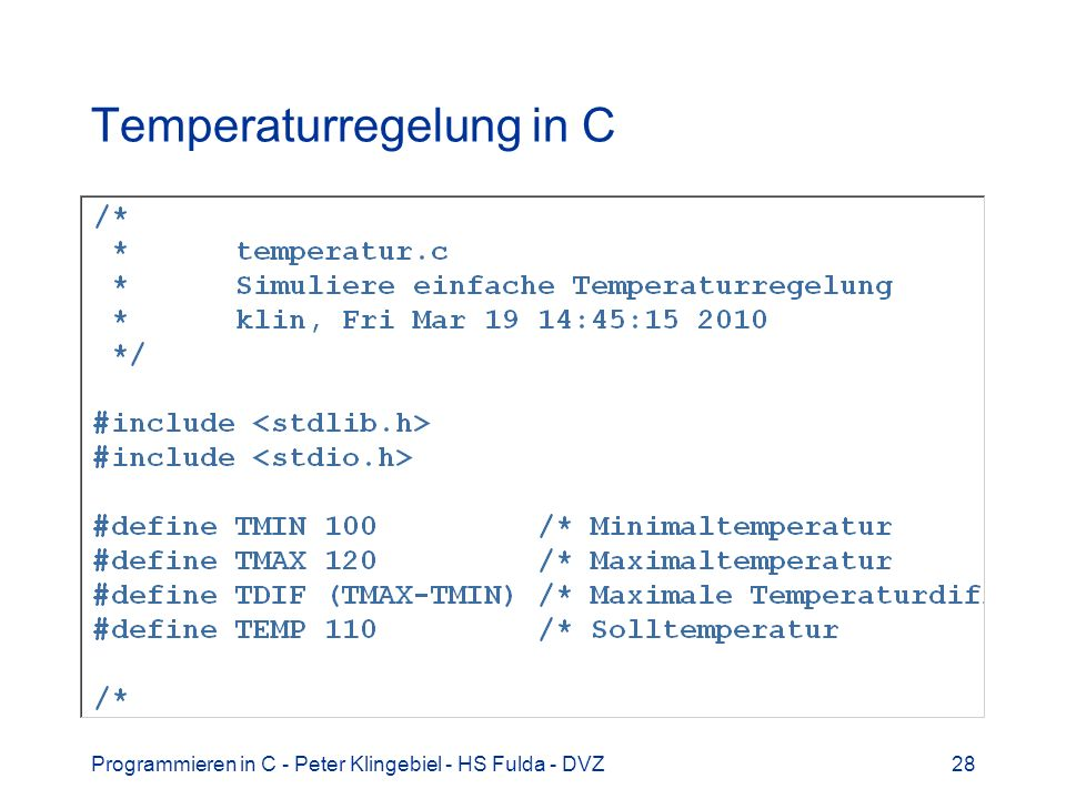 Temperaturregelung in C