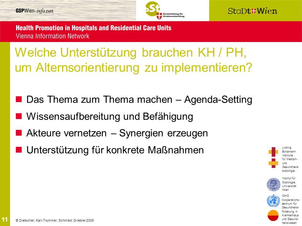 Welche Unterstützung brauchen KH / PH, um Alternsorientierung zu implementieren