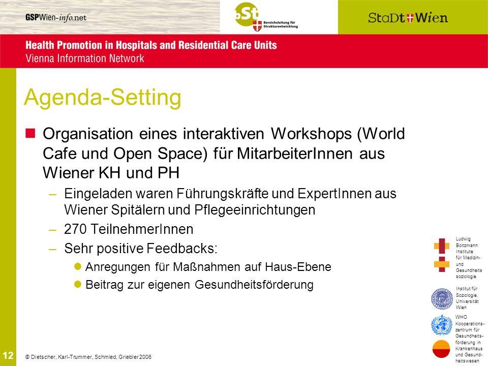 Agenda-Setting Organisation eines interaktiven Workshops (World Cafe und Open Space) für MitarbeiterInnen aus Wiener KH und PH.