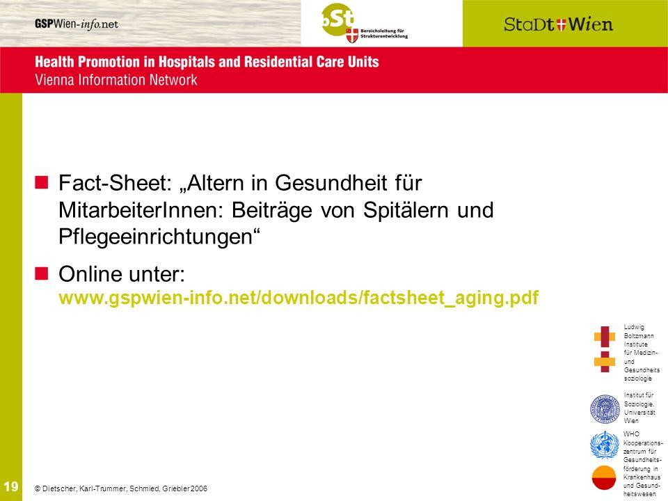 """Fact-Sheet: """"Altern in Gesundheit für MitarbeiterInnen: Beiträge von Spitälern und Pflegeeinrichtungen"""