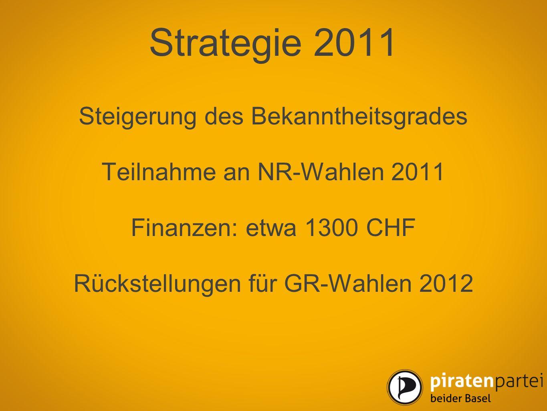 Strategie 2011 Steigerung des Bekanntheitsgrades Teilnahme an NR-Wahlen 2011 Finanzen: etwa 1300 CHF Rückstellungen für GR-Wahlen 2012