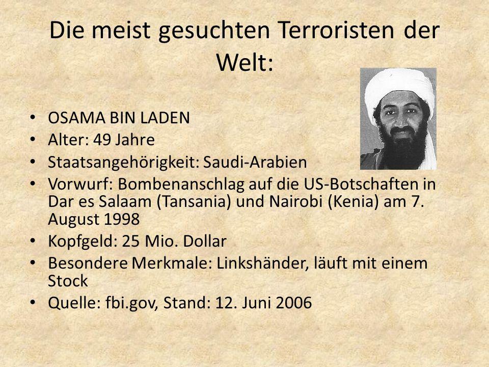 Die meist gesuchten Terroristen der Welt: