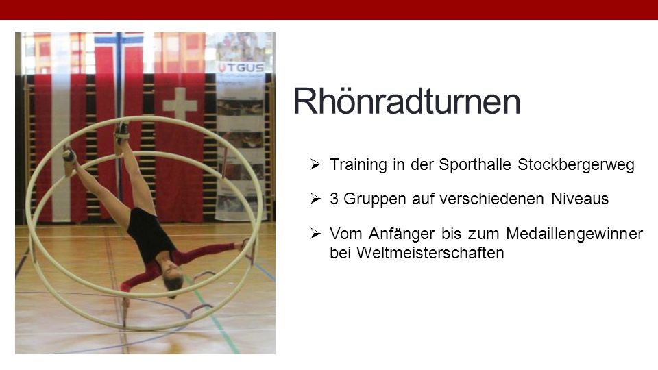 Rhönradturnen Training in der Sporthalle Stockbergerweg
