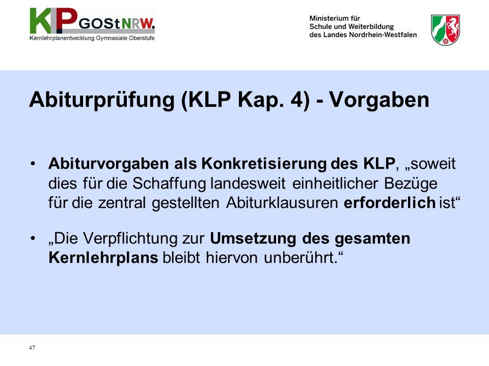 Abiturprüfung (KLP Kap. 4) - Vorgaben