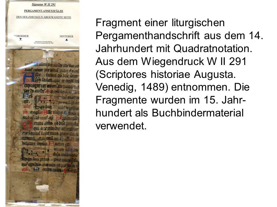 Fragment einer liturgischen Pergamenthandschrift aus dem 14