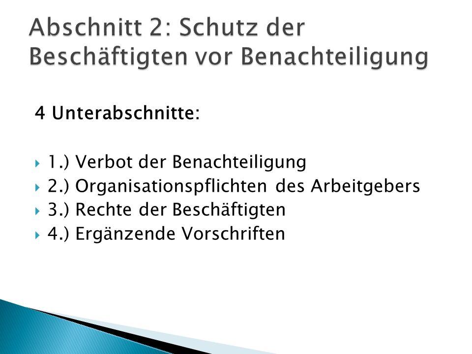 Abschnitt 2: Schutz der Beschäftigten vor Benachteiligung