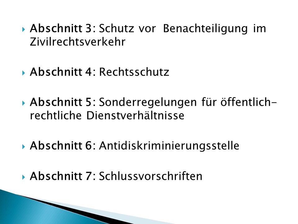 Abschnitt 3: Schutz vor Benachteiligung im Zivilrechtsverkehr