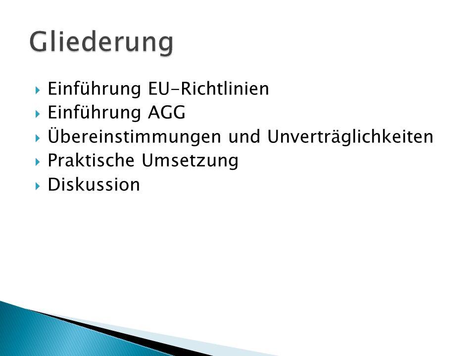 Gliederung Einführung EU-Richtlinien Einführung AGG