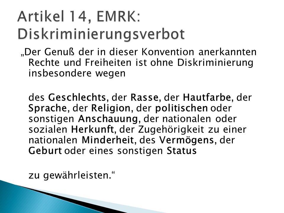 Artikel 14, EMRK: Diskriminierungsverbot