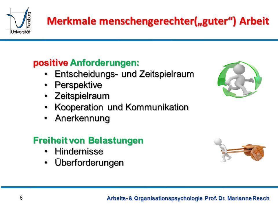 Arbeits- & Organisationspsychologie Prof. Dr. Marianne Resch