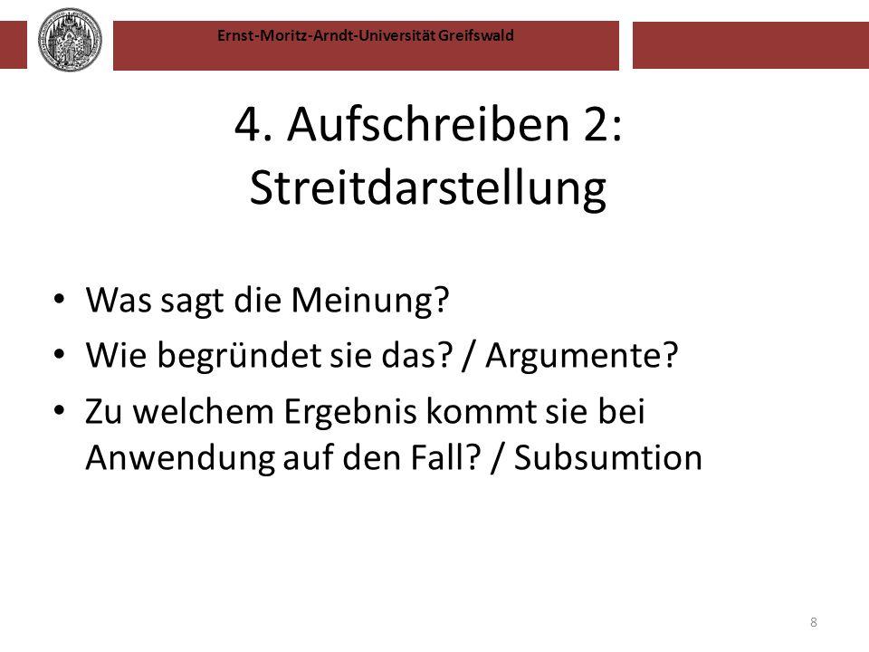4. Aufschreiben 2: Streitdarstellung