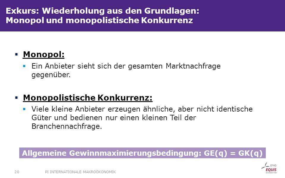 Allgemeine Gewinnmaximierungsbedingung: GE(q) = GK(q)